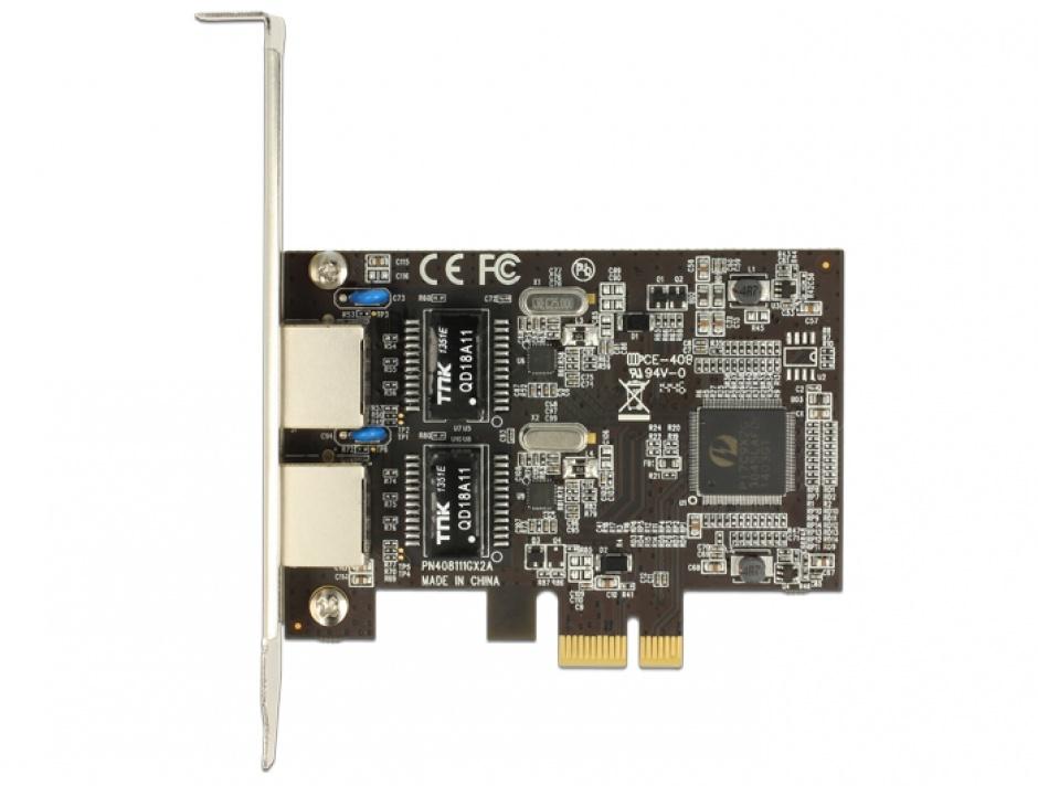 Imagine PCI Express cu 2 x Gigabit LAN, Delock 89346