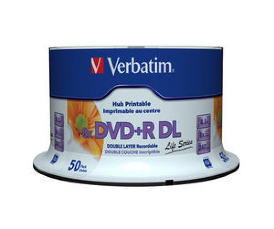 "Imagine BLANK DVD+R Verbatim DL 8X 8.5GB 50PK SPINDLE PRINTABLE ""97693"""