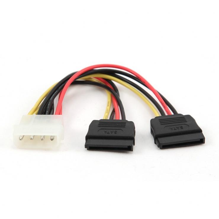 Imagine Cablu alimentare Molex la 2 x SATA 30cm, Gembird CC-SATA-PSY-0.3M