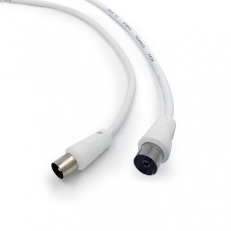 Imagine Cablu prelungitor antena coaxial T-M 3m alb, Gembird CCV-515-W-3M