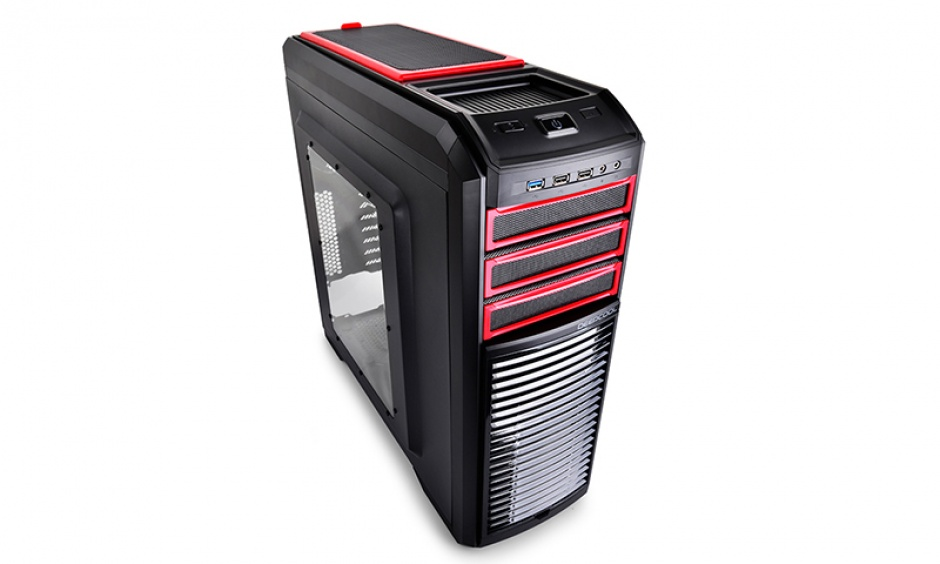 Imagine CARCASA DEEPCOOL ATX Mid-Tower, 2* 120mm RED LED fan & 3* 120mm fan, KENDOMEN RD