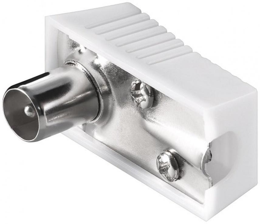 Imagine Conector tata unghi 90 grade pentru antena TV (coaxial) alb 75 Ohm, KTKONPM