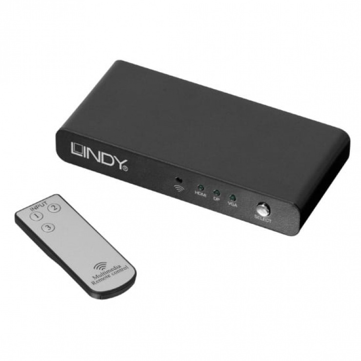 Imagine Switch DisplayPort, HDMI & VGA la HDMI, Lindy L38272-2