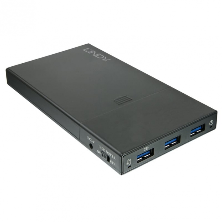 "Imagine Rack extern 2.5"" USB 3.1 la SATA cu HUB 3 porturi, Lindy L43199"