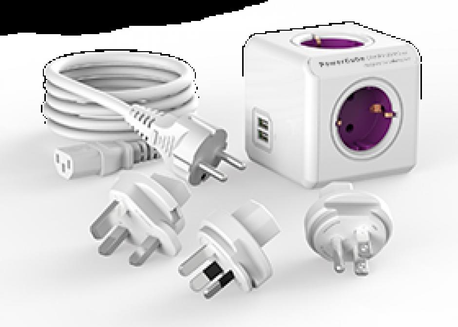 Imagine Prelungitor sub forma de cub Power Cube 4 prize Schuko + 2 x USB + 4 adaptoare priza 1m Alb/mov, ALLOCACOC