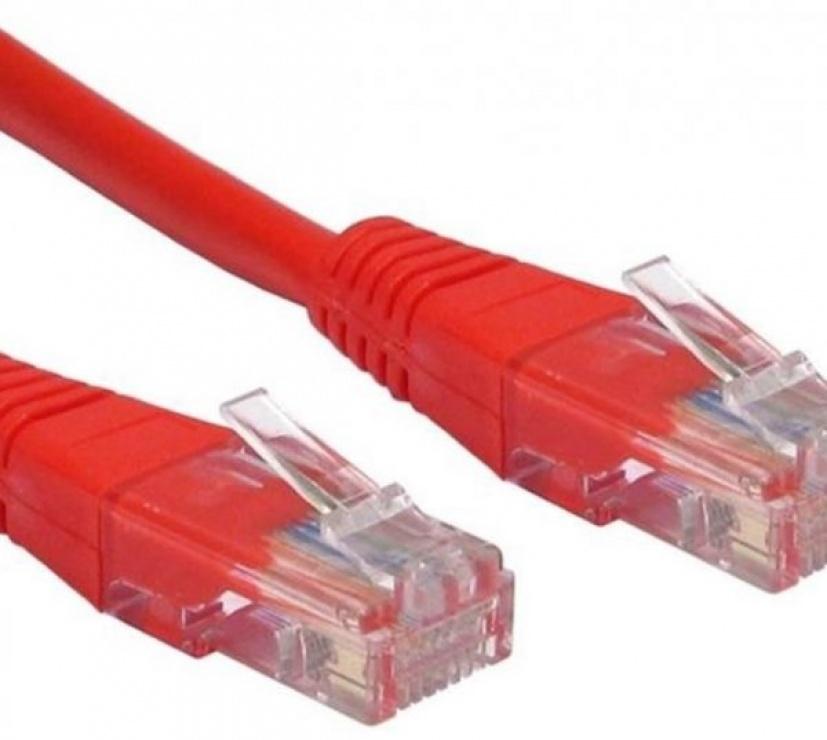 Imagine Cablu de retea UTP cat 5e 0.5m rosu, Spacer SP-PT-CAT5-0.5M-R