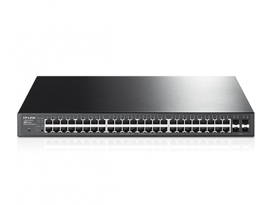 Imagine Switch 48-Porturi 10/100/1000Mbps Gigabit Smart Switch with 4 SFP Slots, TP-LINK TL-SG2452P