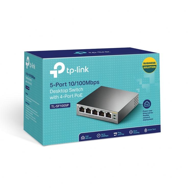 Imagine Switch 5 porturi 10/100Mbps cu 4 porturi PoE, TP-LINK TL-SF1005P