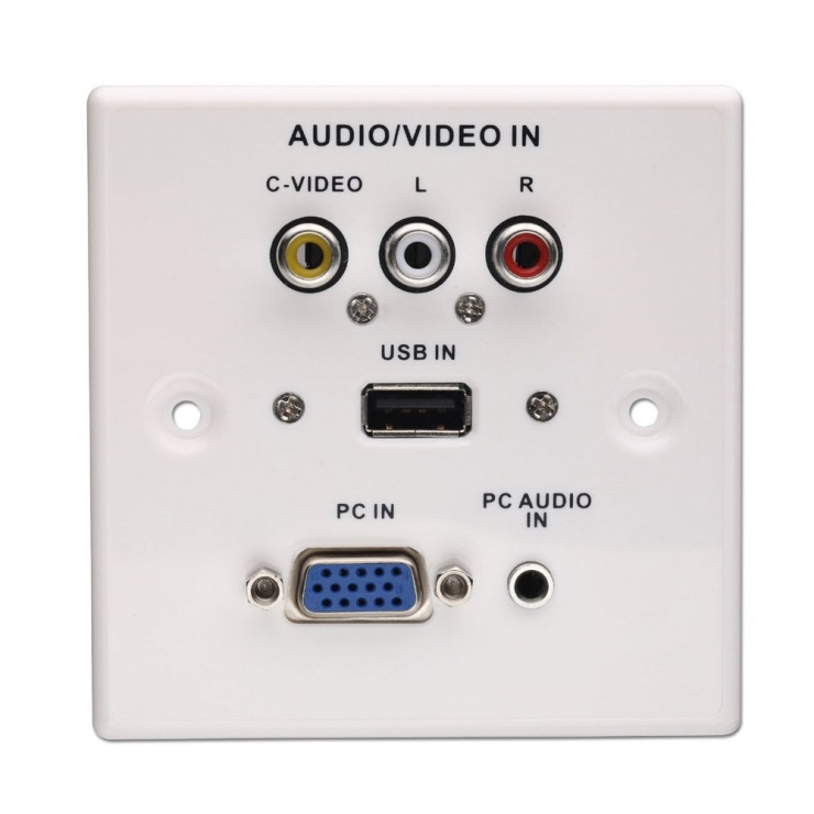 Imagine Priza perete frontala audio - video (VGA, USB, Jack stereo, RCA), Lindy L60222
