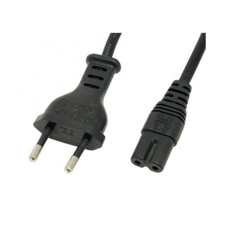 Imagine Cablu alimentare Euro la IEC C7 (casetofon) 2 pini 1.8m, Gembird PC-184/2