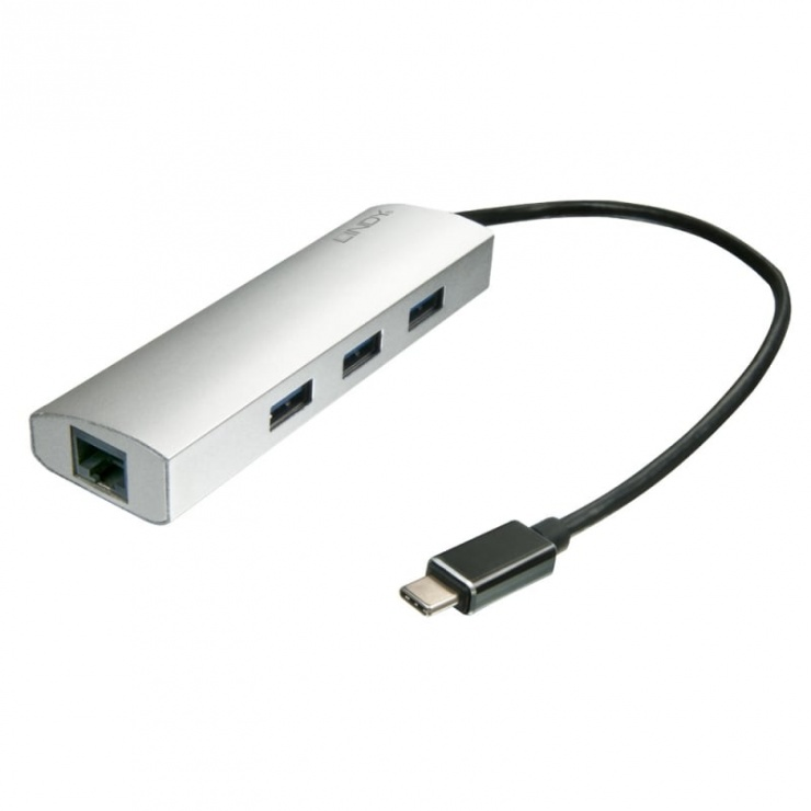 Imagine Adaptor USB 3.1 tip C la Gigabit + HUB 3 porturi, Lindy L43177