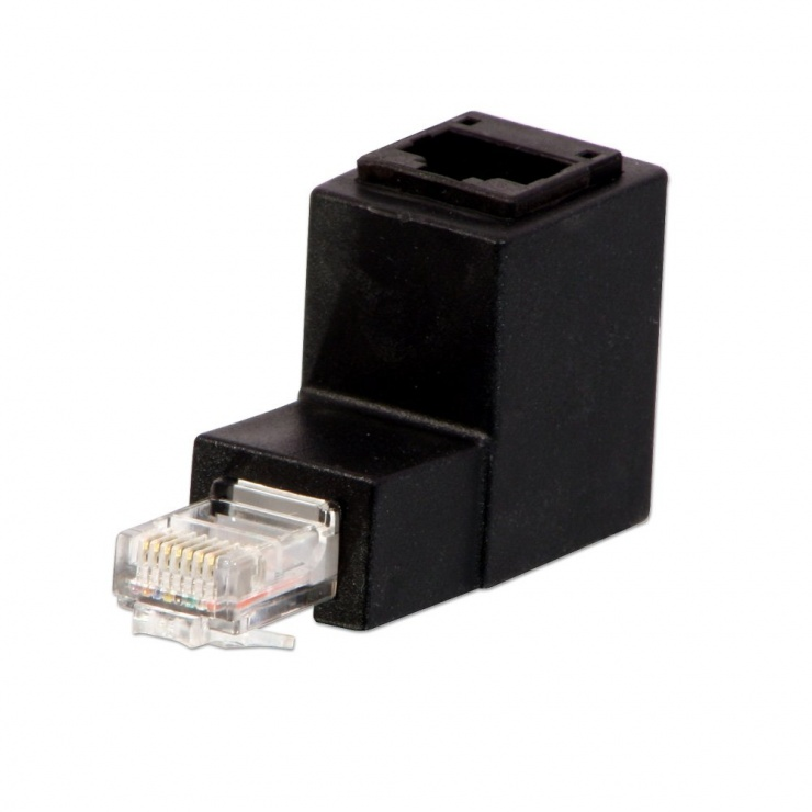 Imagine Adaptor RJ45 CAT5e/6 unghi jos, Lindy L71151