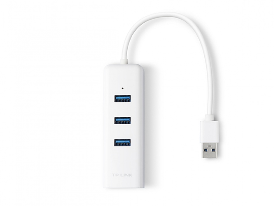 Imagine HUB cu 3 porturi USB 3.0 + 1 x port Gigabit Ethernet, TP-LINK UE330
