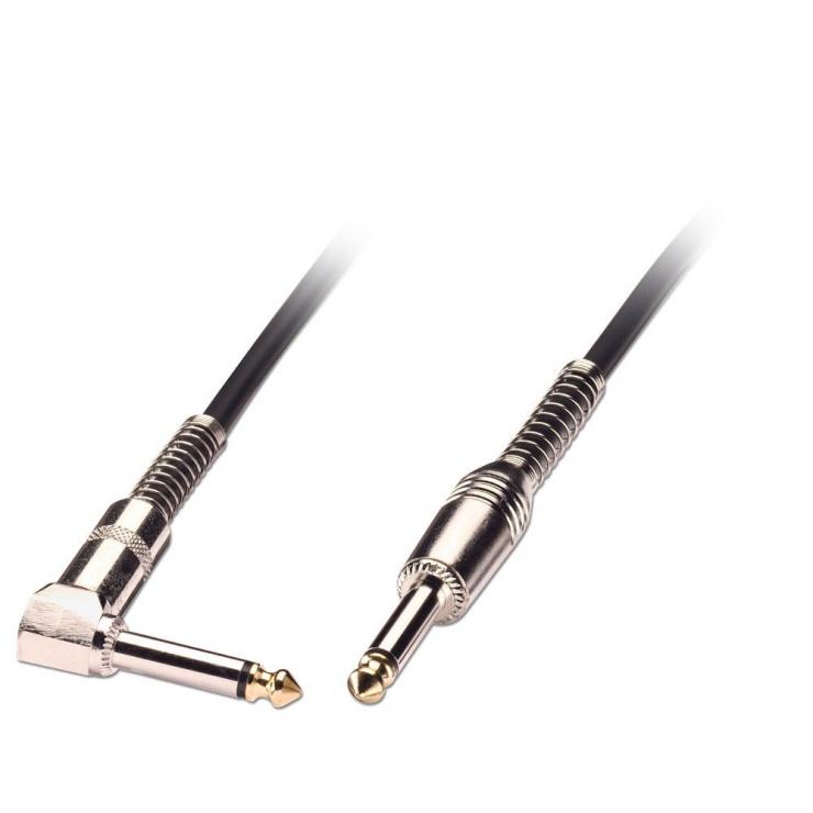 Imagine Cablu audio jack mono 6.35mm (pentru chitara) unghi 90 grade T-T 0.5m negru, Lindy L6030