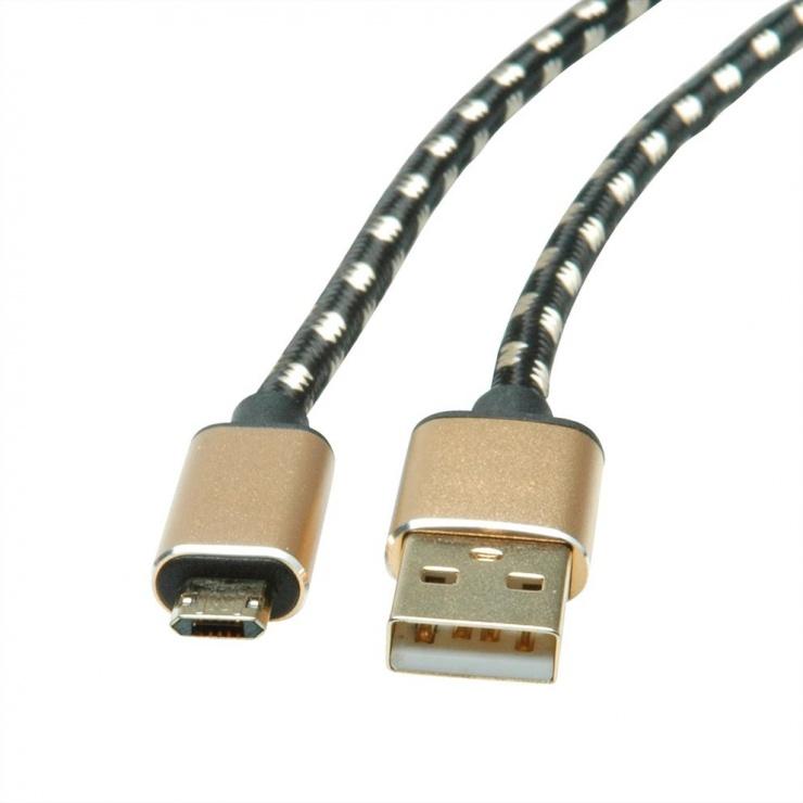 Imagine Cablu micro USB-B reversibil la USB 2.0 GOLD T-T 0.8m, Roline 11.02.8819-1