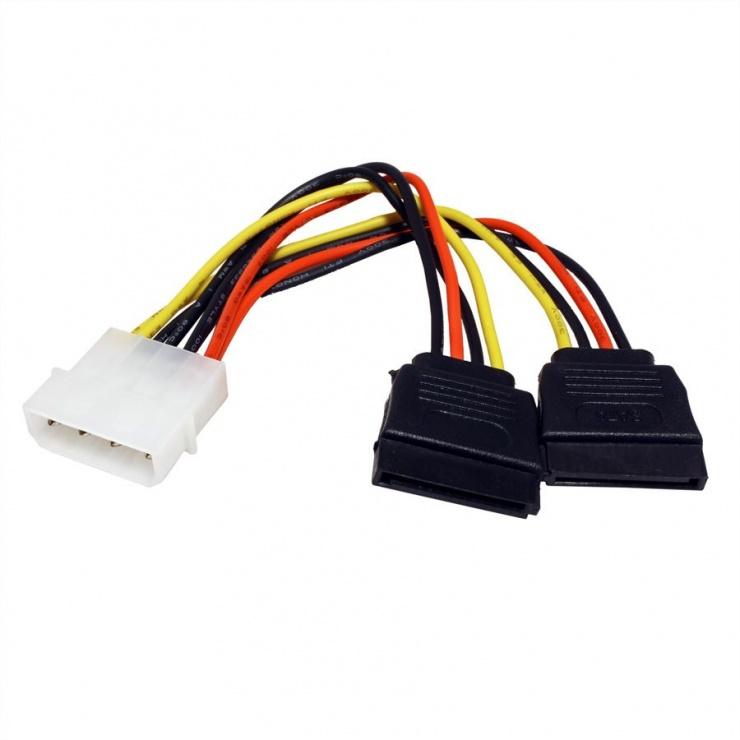 Imagine Cablu de alimentare Molex la 2 x SATA 12cm, Roline 11.03.1050 -1