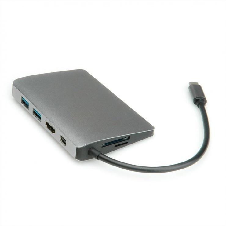 Imagine Docking station USB-C la 4K HDMI, Mini DP, 2 x USB 3.0, 1 x SD/MicroSD, 1 x USB-C PD (Power Delivery), 1 x Gigabit RJ45, Roline 12.02.1021