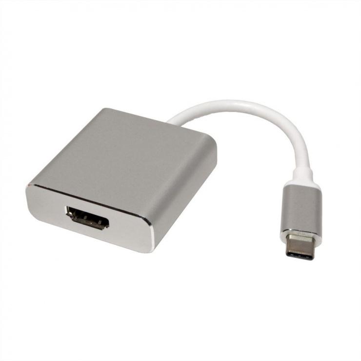 Imagine Adaptor USB 3.1 tip C la HDMI T-M Aluminiu, Roline 12.03.3210-1