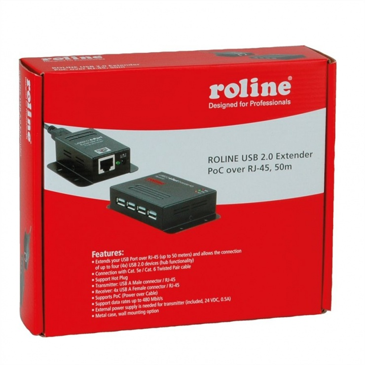 Imagine Extender USB pana la 50m via RJ45 + HUB 4 porturi, Roline 12.04.1101-3
