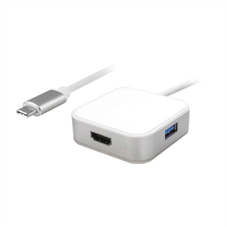 Imagine Adaptor USB tip C la HDMI + 2 x USB 3.0, 1 x PD (Power Delivery) T-M Alb, Value 12.99.1133