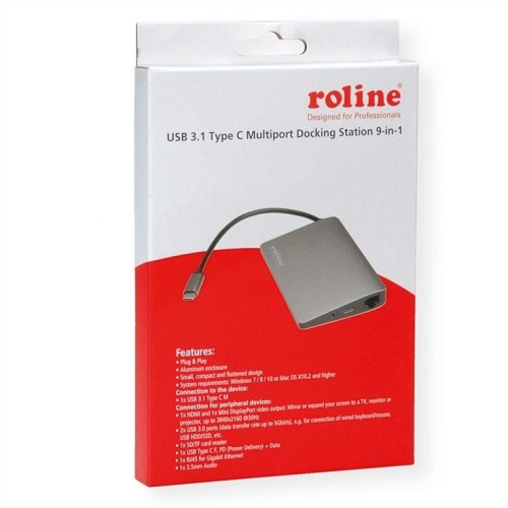 Imagine Docking station USB-C la 4K HDMI, Mini Displayport, 2 x USB 3.0, 1 x SD/MicroSD card reader-3