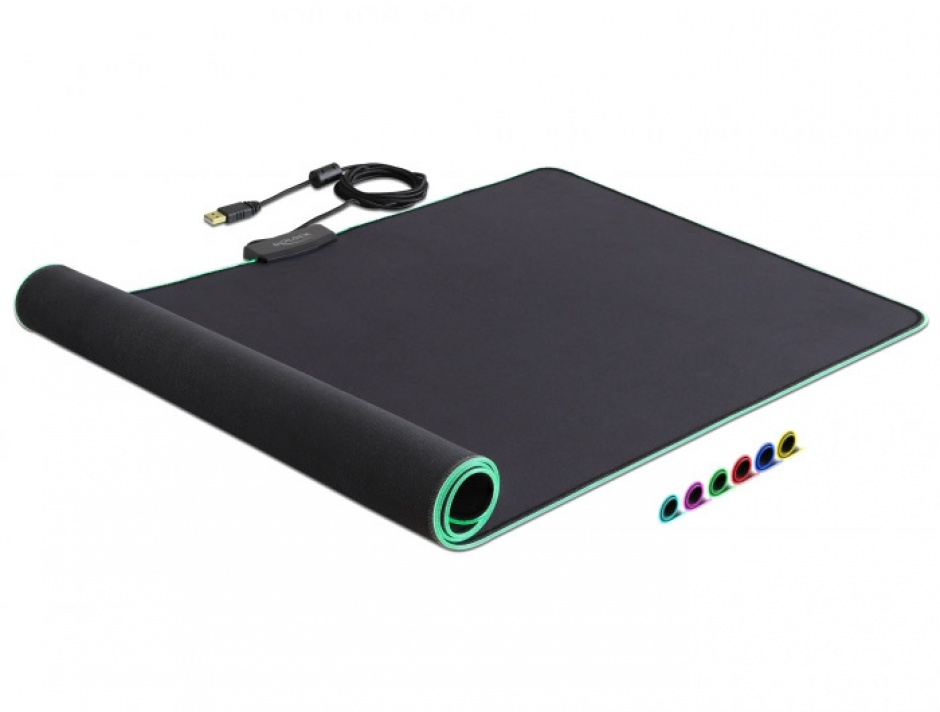 Imagine Mouse Pad 900 x 400 x 3 mm cu iluminare  RGB, Delock 12556