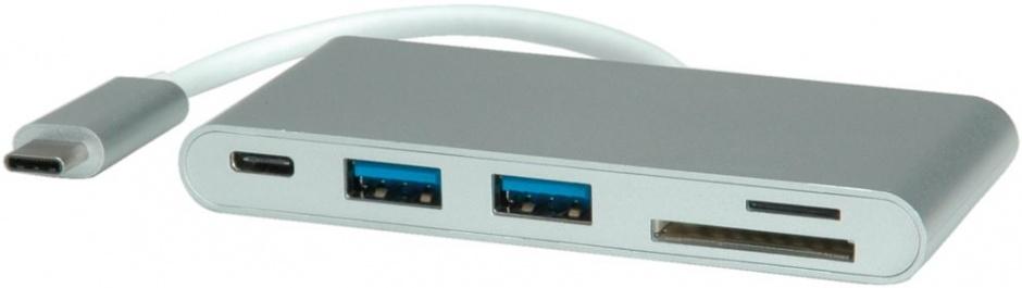 Imagine Hub USB tip C 3.1 + 2 x USB-A si alimentare (PD) + slot micro SD/SD, Roline 15.08.6257