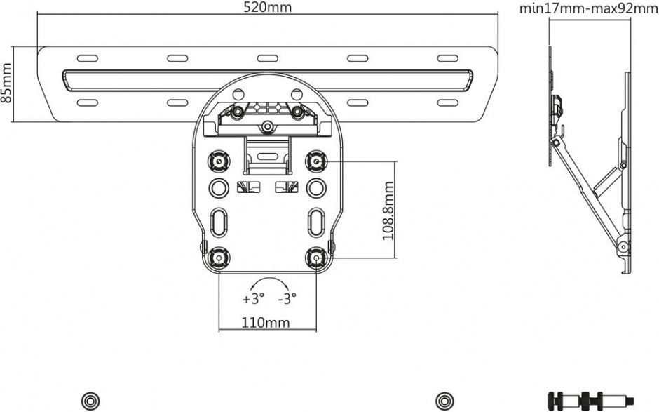 Imagine Suport perete LCD/Plasma TV Low Profile pentru seria Q Samsung (Q7, Q8, Q9), Value 17.99.1166
