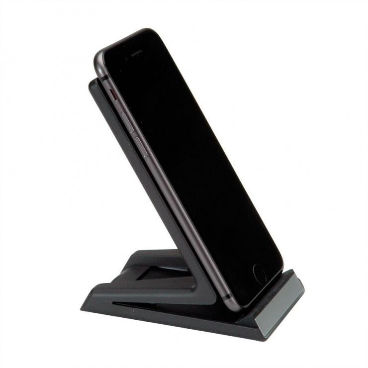 Imagine Stand smartphone cu incarcare wireless Fast Charge 10 W, Roline 19.11.1010-3