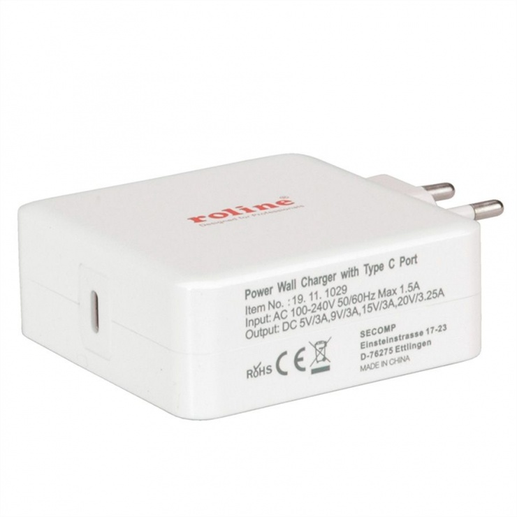 Imagine Incarcator priza Power IQ cu 1 x USB-C 3.5A 65W, Roline 19.11.1029