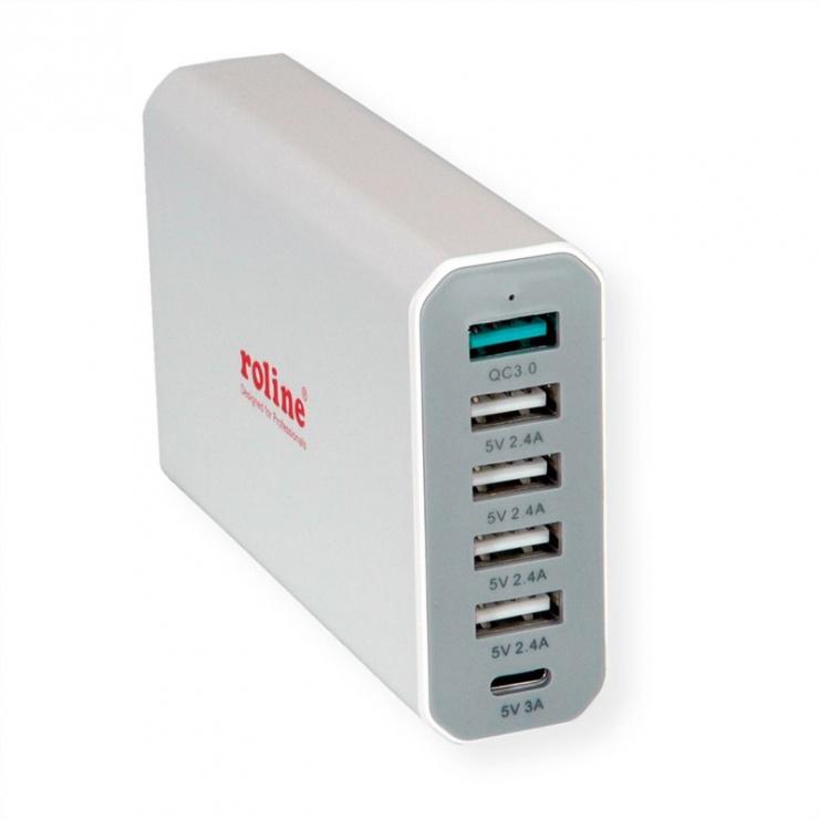 Imagine Incarcator priza tehnologie IQ 6 porturi USB 4 x USB A 2.4A, 1x USB C 3A, 1x USB A QC3.0), max. 60W, Roline 19.11.1030