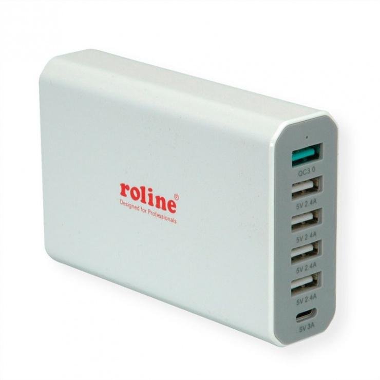 Imagine Incarcator priza tehnologie IQ 6 porturi USB 4 x USB A 2.4A, 1x USB C 3A, 1x USB A QC3.0)-3