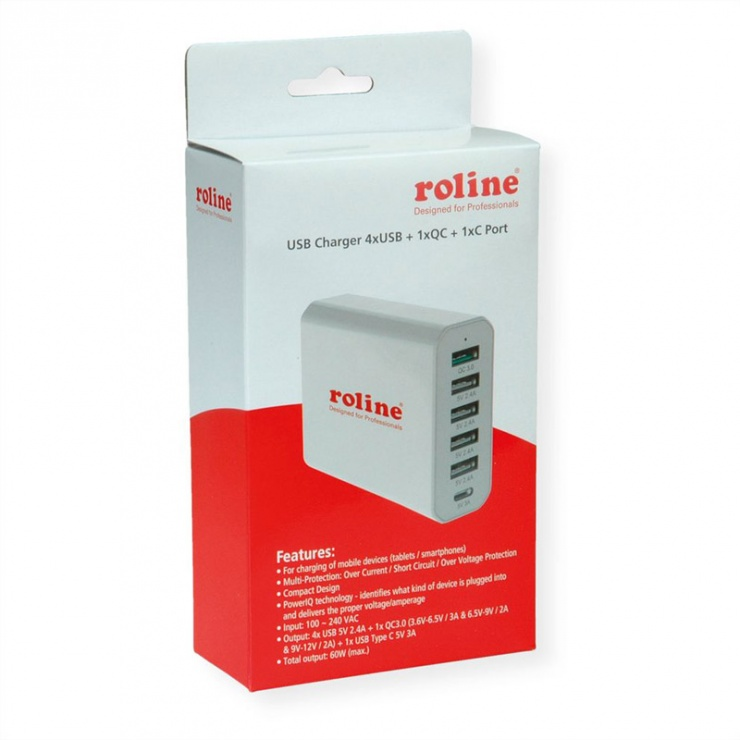 Imagine Incarcator priza tehnologie IQ 6 porturi USB 4 x USB A 2.4A, 1x USB C 3A, 1x USB A QC3.0)-4