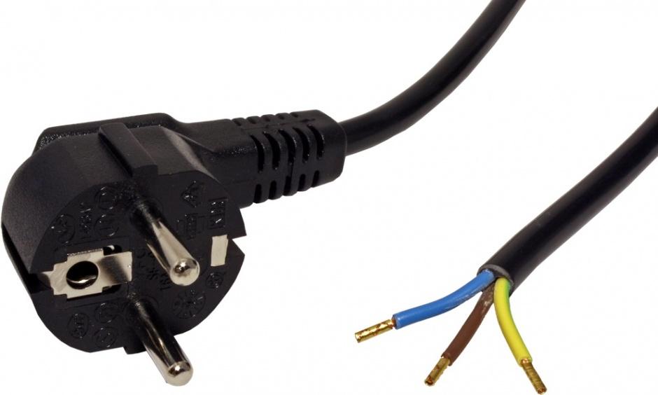 Imagine Cablu de alimentare Schuko cu fire deschise 3m negru, Roline 19.08.1111-1