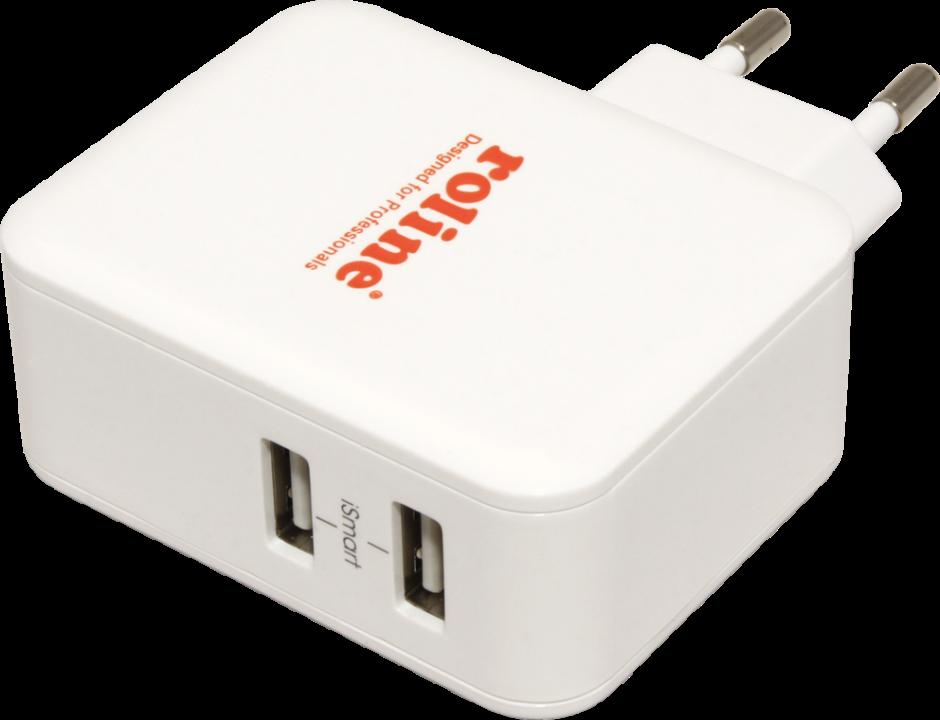 Imagine Incarcator priza cu 2 x USB 4.8A, Roline 19.11.1026-1
