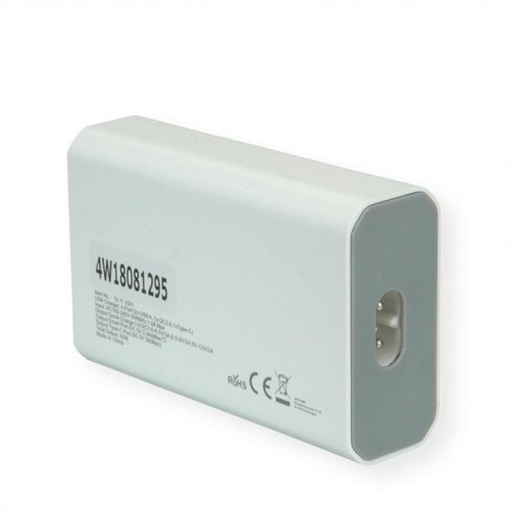 Imagine Incarcator priza 4 porturi USB ( 3 x USB-A 2.4A + 1 x USB-C 3A) max. 40W, Roline 19.11.1031-1