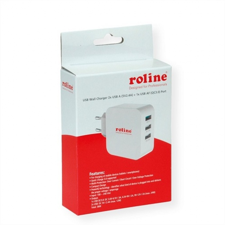 Imagine Incarcator priza 3 porturi USB (1 x Quick Charge/Incarcare rapida 3.0 3A + 2 x 5V/2.4A) 36W, Roline-