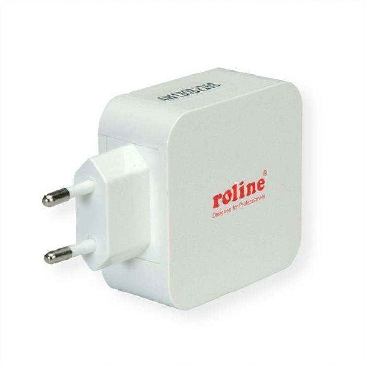 Imagine Incarcator priza 3 porturi USB (1 x Quick Charge/Incarcare rapida 3.0 3A + 2 x 5V/2.4A) 36W, Roline