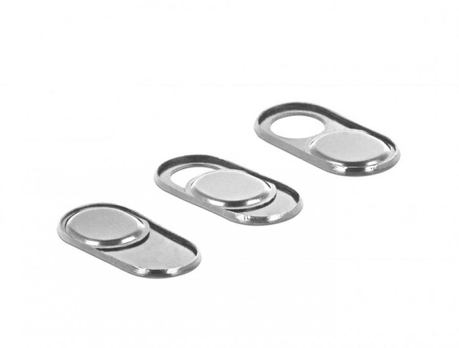 Imagine Set 3 bucati protectii camera pentru laptop/ smartphone/ tableta Silver, Delock 20656