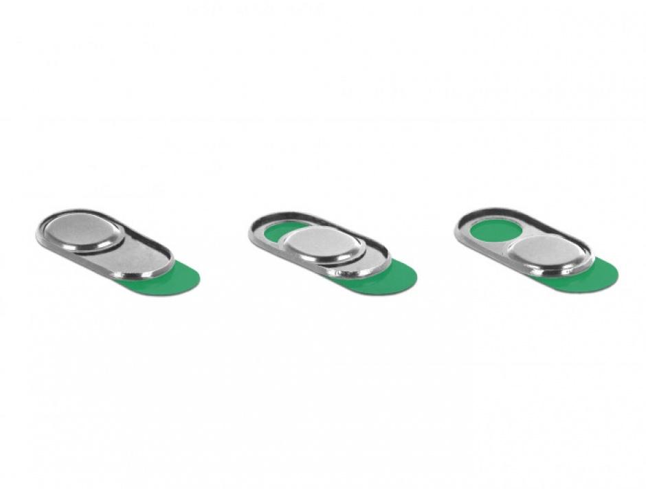 Imagine Set 3 bucati protectii camera pentru laptop/smartphone/tableta Silver, Delock 20656-1