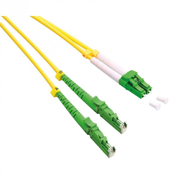 Imagine Cablu fibra optica Jumper Duplex OS2 LSH - LC APC Polish, LSOH, Galben 3m, Roline 21.15.9483