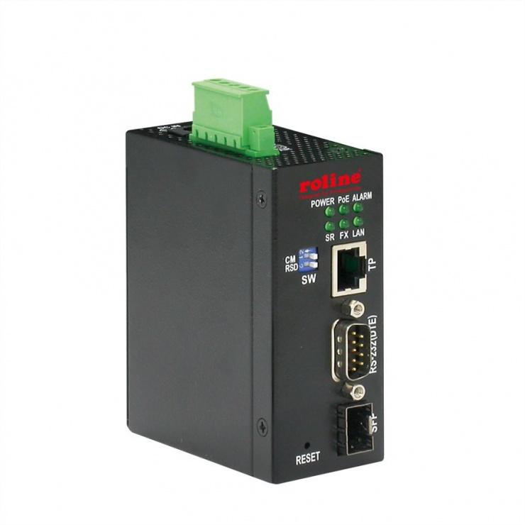 Imagine Convertor industrial Ethernet/SFP Slot la serial RS232, Roline 21.13.1138