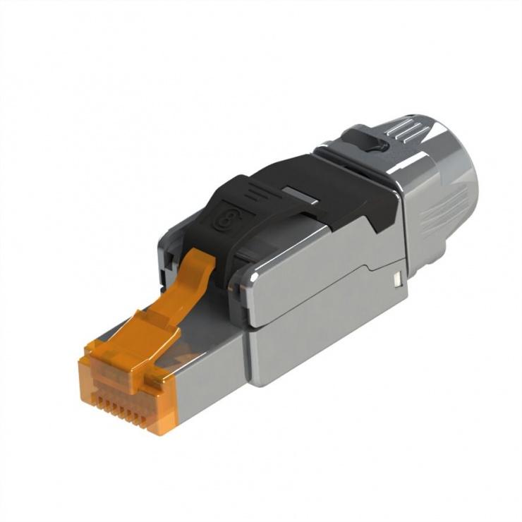 Imagine Conector RJ45 cat 8.1 pentru fir solid AWG 22 - 24, Roline 21.17.3086