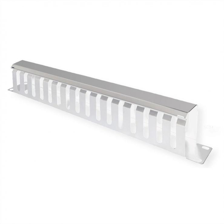 """Imagine Front Panel 19"""" 1U cu organizator pentru cabluri 40x80mm RAL7035 Gri deschis, Value 26.99.0303"""