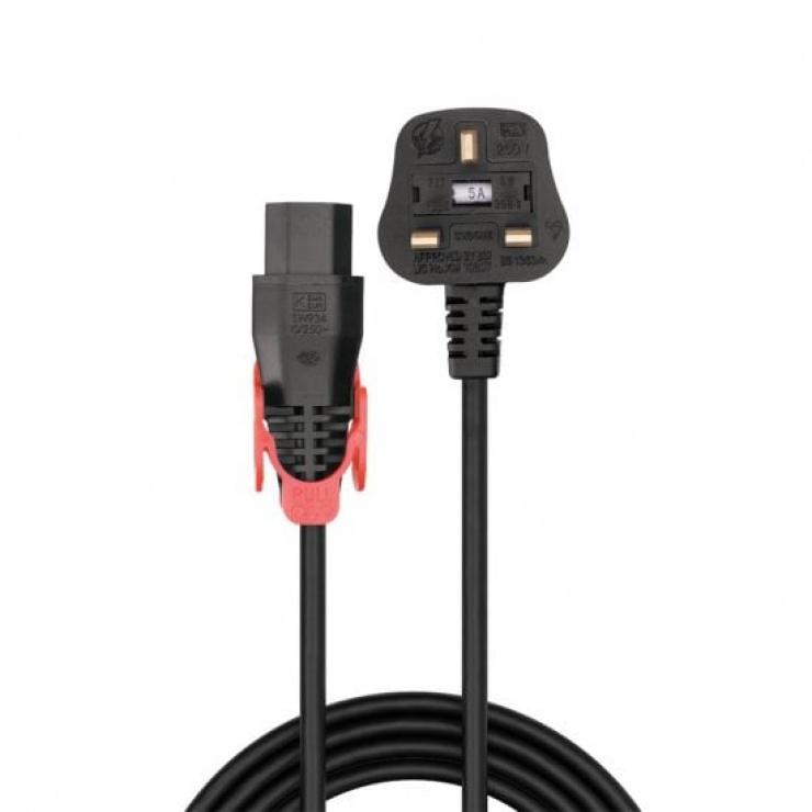 Imagine Cablu de alimentare UK la C13 Easy Pull Locking 2m, Lindy L30132-1