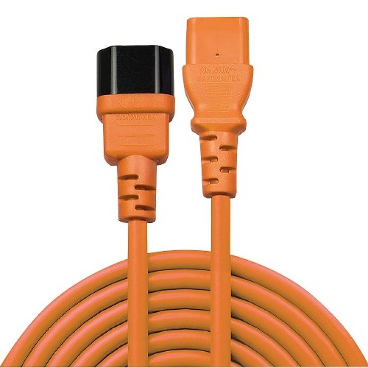 Imagine Cablu prelungitor alimentare IEC C13 - C14 2m Orange, Lindy L30475-1
