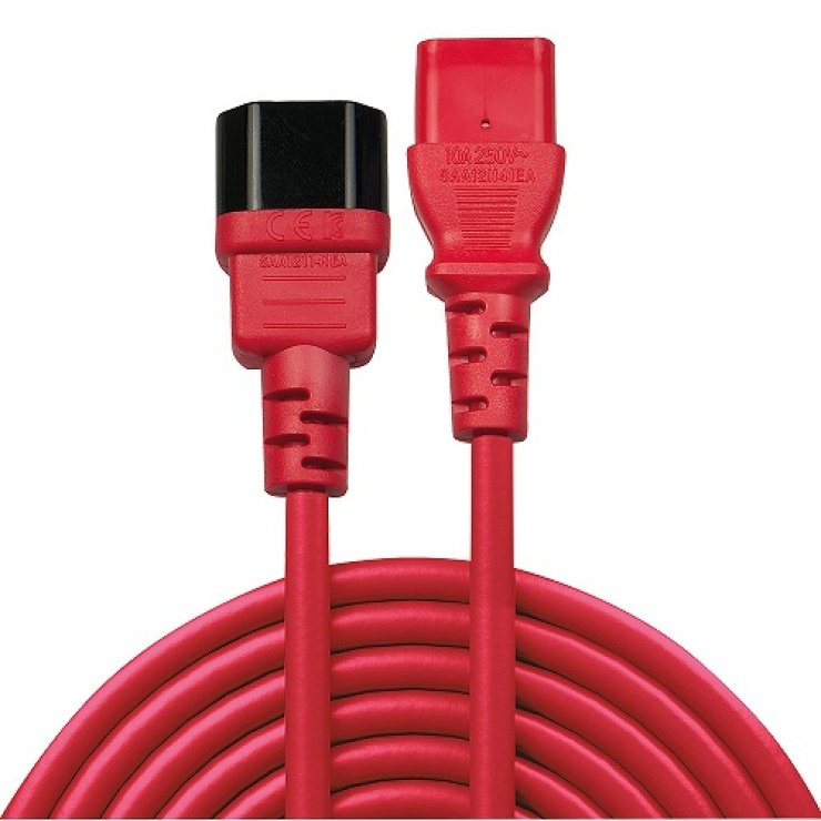 Imagine Cablu prelungitor C13 la C14 T-M Rosu 0.5m, Lindy L30476-1