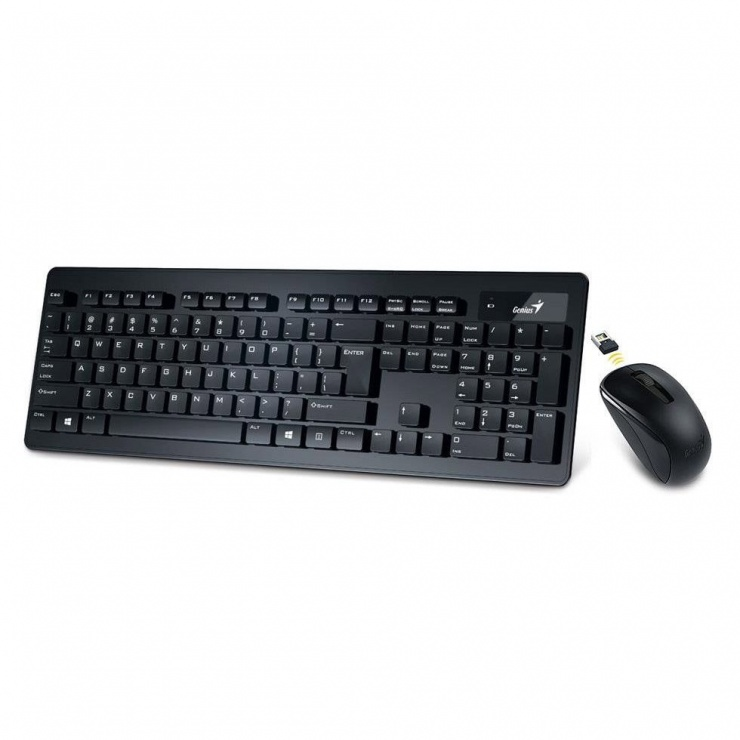 Imagine Kit tastatura chocolate si mouse wireless SlimStar 8005 Negru, Genius