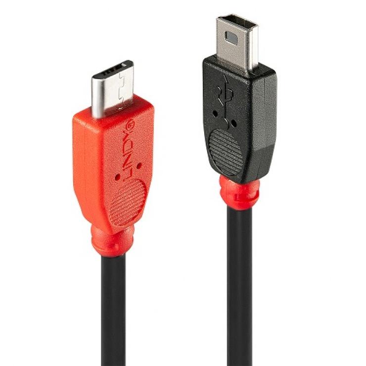 Imagine Cablu USB OTG Micro-B la Mini-B 0.5m, Lindy L31717