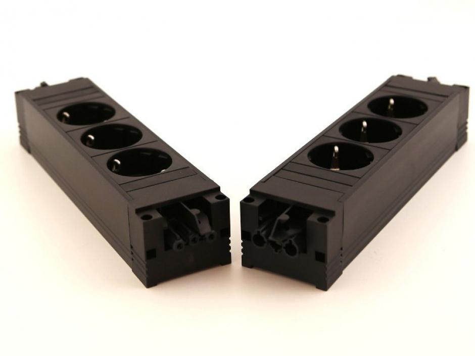 Imagine Priza STEP aluminiu cu 3 x Schuko neagra, Bachmann 336.039